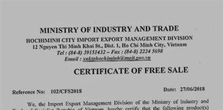 Cấp CFS - Mẫu giấy CFS do Bộ Công thương cấp (Ảnh DVvnu)